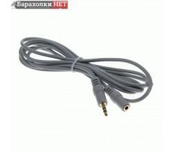 Кабель Smartbuy 3.5 Jack (M) - 3.5 Jack (F), стерео, аудио, 1,8 м, пакет