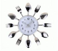 Оригинальные настенные часы для кухни - Ложки вилки