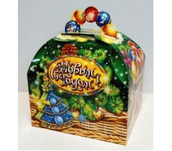 Коробка для конфет на Новый год (19 х 16 х 13 см.)