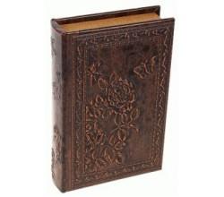 Деревянная шкатулка книга из кожи