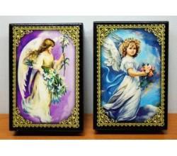 Лаковая шкатулка Ангелы (16,5х8,5)